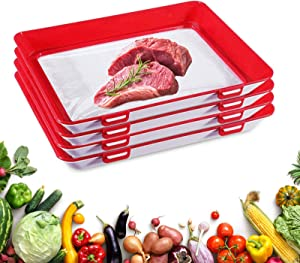 PTAbiao Reusable Food Preservation Tray Silicone Food Preservation Trays With Lids 4 Pack (Red)