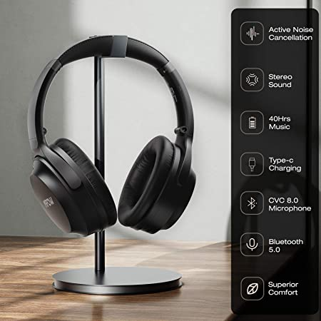 Latest Cvc 8.0 Headphones with Mic Mpow H20 Bluetooth Headphones Over Ear 30 Hrs Playtime Wireless Hi-Fi Deep Bass Headphones Comfortable Earmuff Headset with Carrying Pouch for Travel PC Cellphone