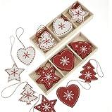 Heaven Sends - Decorazioni tradizionali in legno per albero di Natale, motivo: cuori, alberi e stelle, colore: Rosso e Bianco (Confezione da 24)