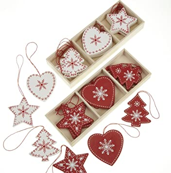24 Red and White Wooden Traditional Christmas Tree Decorations in