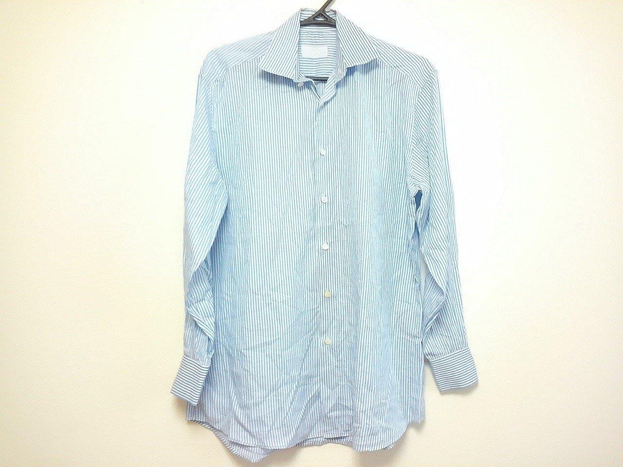 (プラダ) PRADA シャツ 長袖シャツ メンズ 白×ライトブルー 【中古】 B07F1V8V2D  -