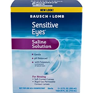 Bausch + Lomb Sensitive Eyes Plus Gentle Saline Solution, 12 Fl Oz, Pack of 2