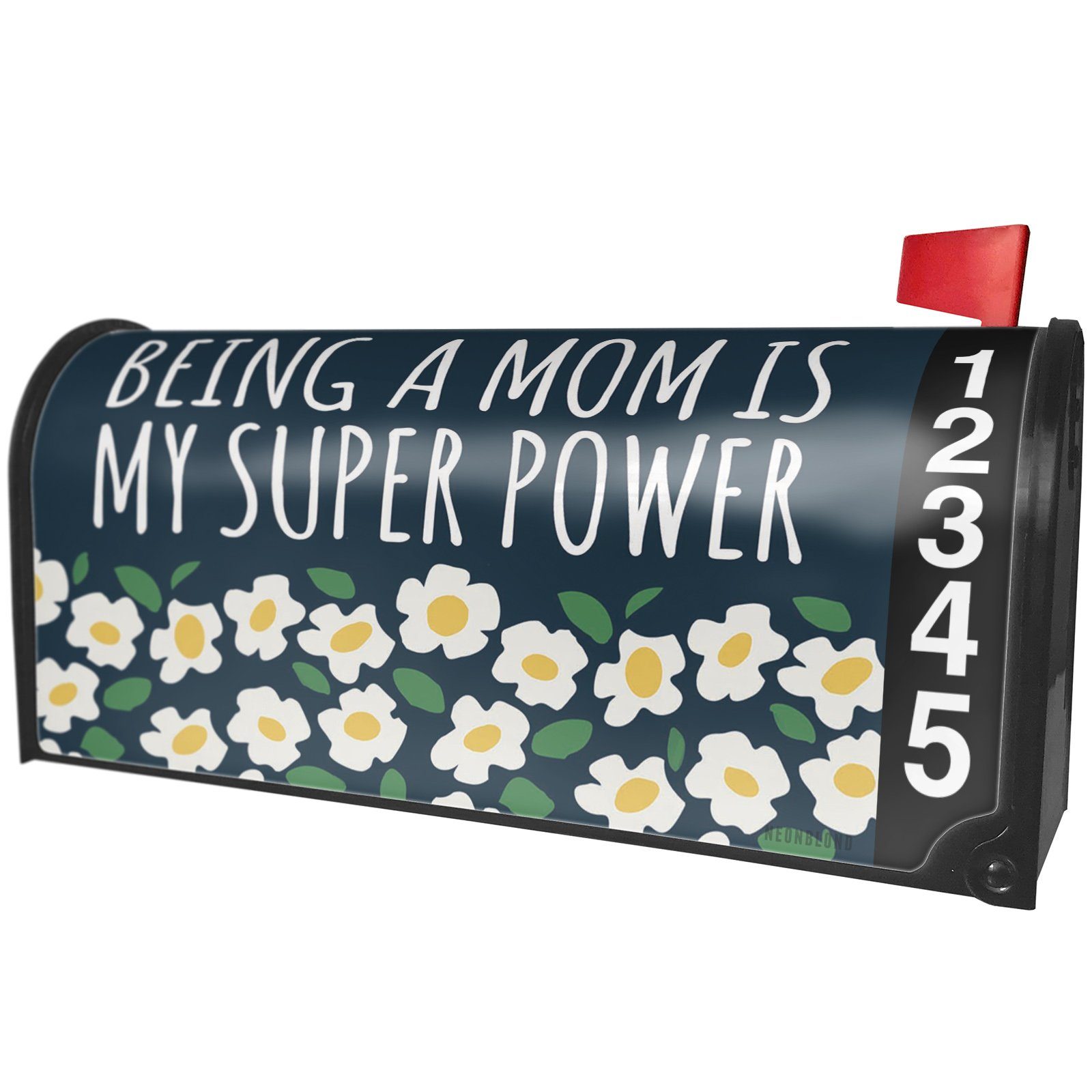 NEONBLOND Being a Mom is My Super Power Mother's Day White Flowers Magnetic Mailbox Cover Custom Numbers
