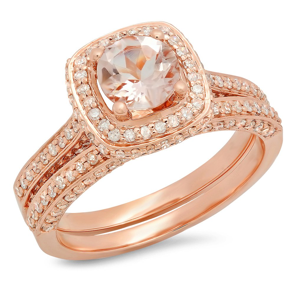 14K Rose Gold Round Morganite & White Diamond Bridal Split Shank Halo Engagement Ring Set (Size 5)