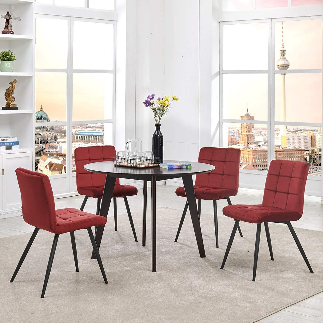 Duhome Set of 4 Assembled Modern Style Dining Chair Mid Century Accent Armless Side Chairs Chair for Kitchen, Dining, Bedroom, Living Room Side Chairs Red