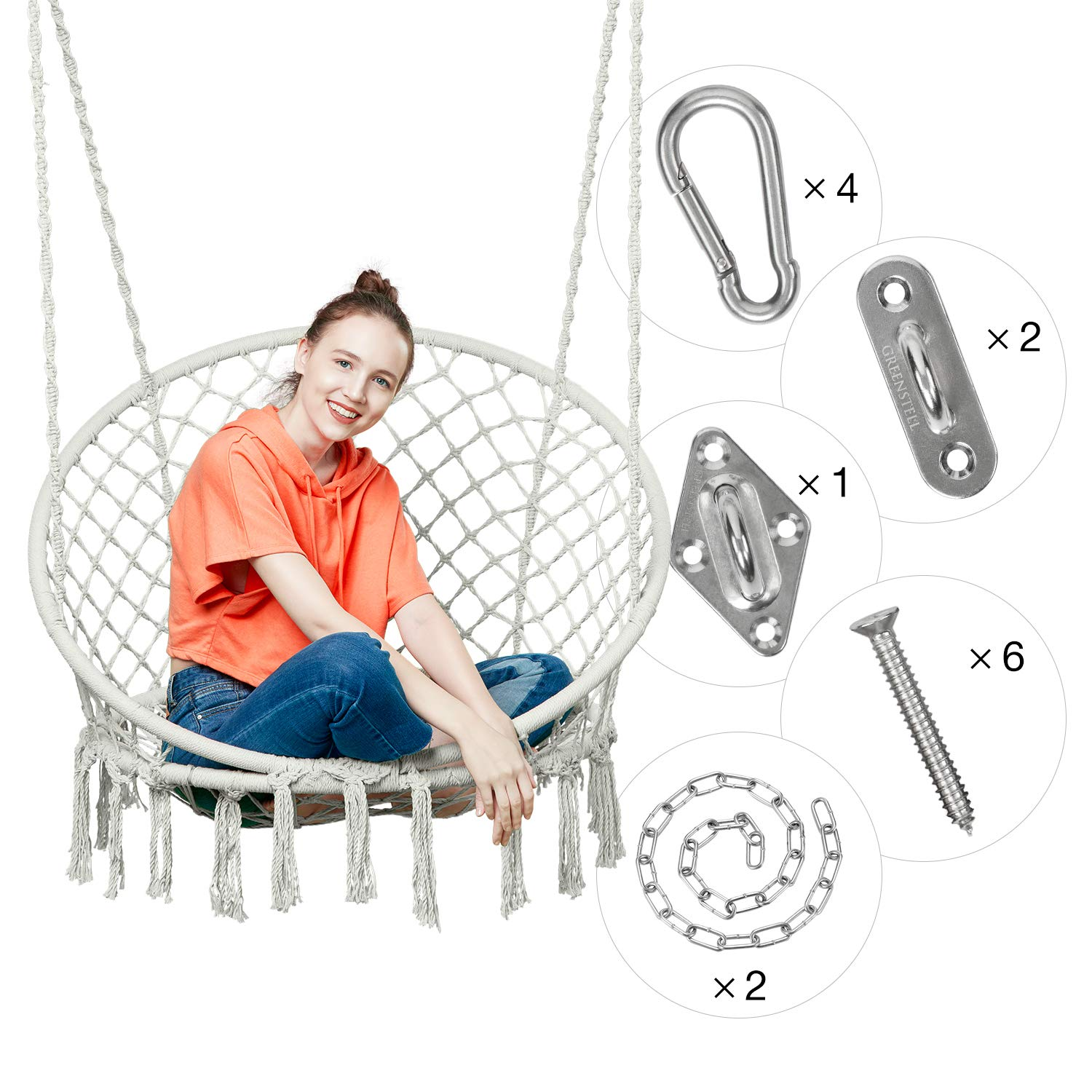 Greenstell Hammock Chair Macrame Swing with Hanging Kits, Hanging Cotton Rope Swing Chair, Comfortable Sturdy Hanging Chairs for Indoor,Outdoor,Bedroom,Patio,Yard, Garden,Home,290LBS Capacity (Beige)