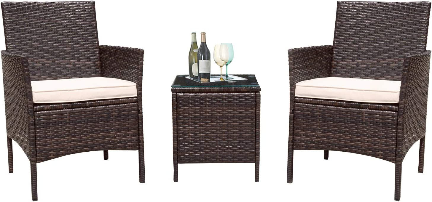 Flamaker 3 Pieces Patio Furniture Set Outdoor Furniture Sets Cushioned PE Wicker Bistro Set Rattan Chair Conversation Sets with Coffee Table Brown