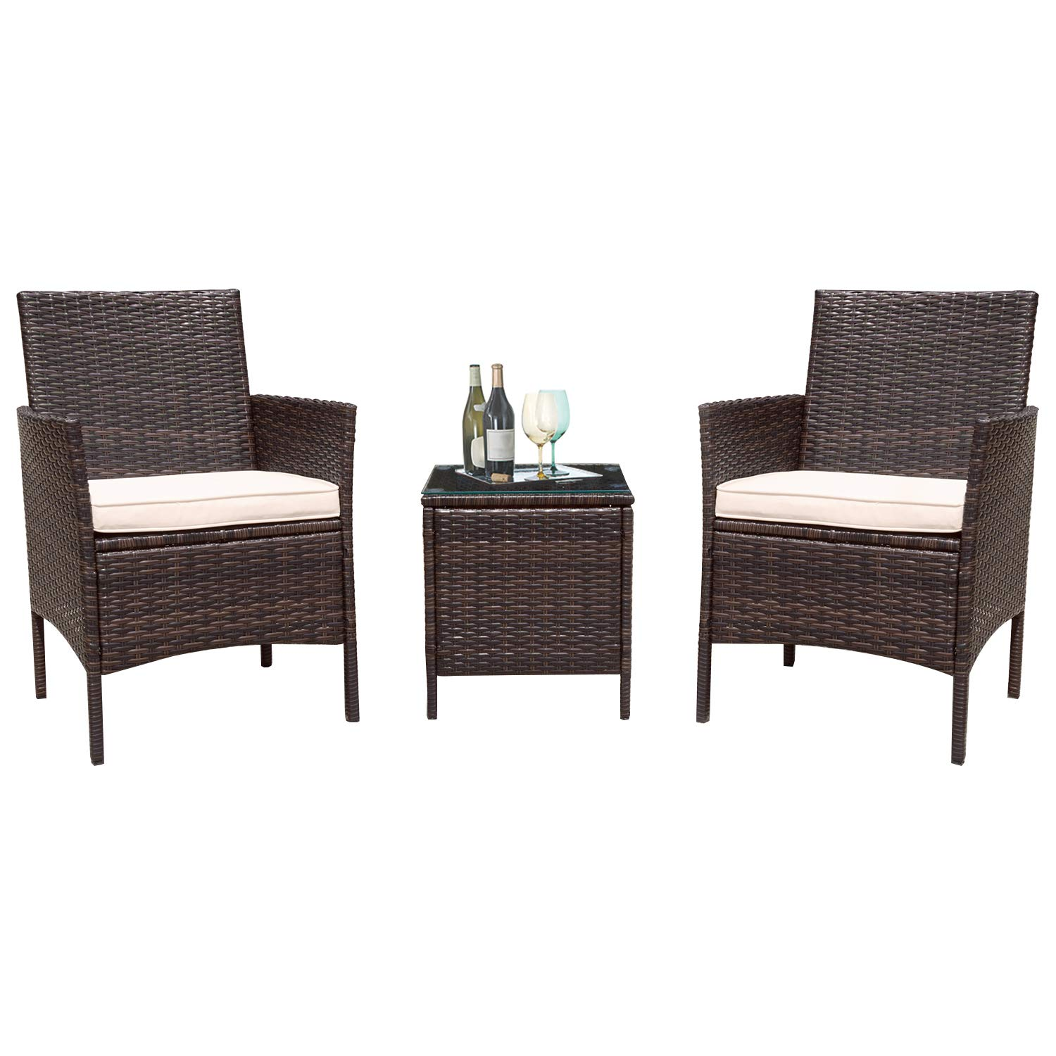 Flamaker 3 Pieces Patio Furniture Set Outdoor Furniture Sets Cushioned PE Wicker Bistro Set Rattan Chair Conversation Sets with Coffee Table (Brown) by Flamaker