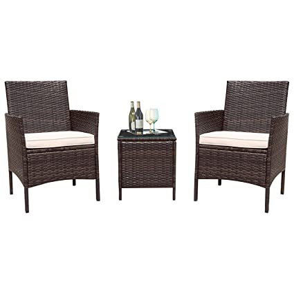 Superb Flamaker 3 Pieces Patio Furniture Set Outdoor Furniture Sets Cushioned Pe Wicker Bistro Set Rattan Chair Conversation Sets With Coffee Table Brown Home Interior And Landscaping Ponolsignezvosmurscom