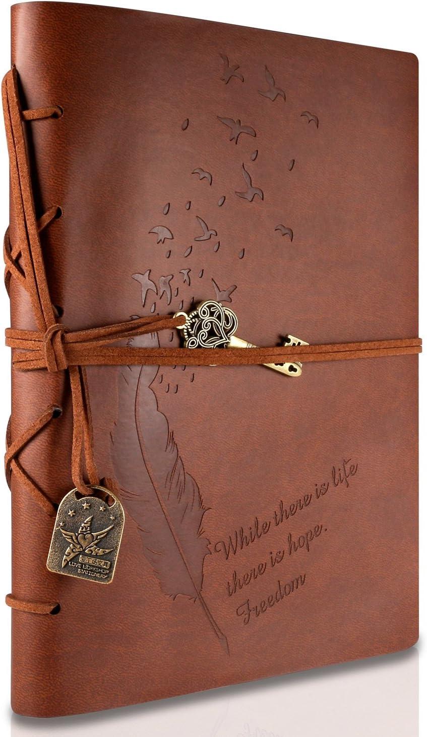 Rymall Cubierta de cuero de la vendimia retro Notebook llave mágica Cadena 160 en blanco Jotter Diary, 15 × 21 cm, A5 (Brown)