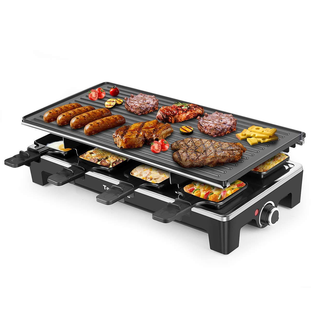 Electric Grill Techwood Raclette Grill with Double-sided Nonstick Grill Plate,8-Person Multifunctional Raclette Grill, 1500W Temperature Adjustment Function, Black by Techwood