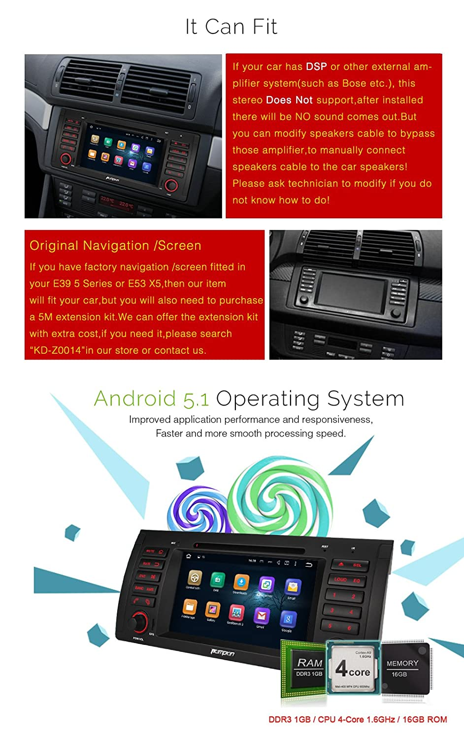 Pumpkin Android Car Stereo For Bmw E39 E53 5 2220 Bose Amplifier Wiring Diagram Electronics