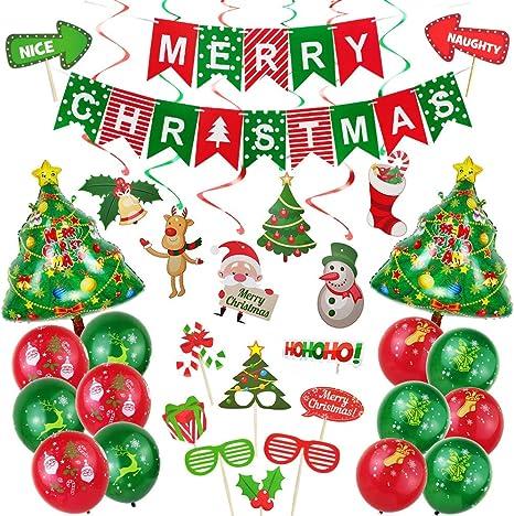 1 Set Merry Xmas Banner,14pcs Xmas Balloons 32pcs Photo Props ART TANTAN Christmas Decorations Set for Party Celebration 1 Set Swirling Ornamentation