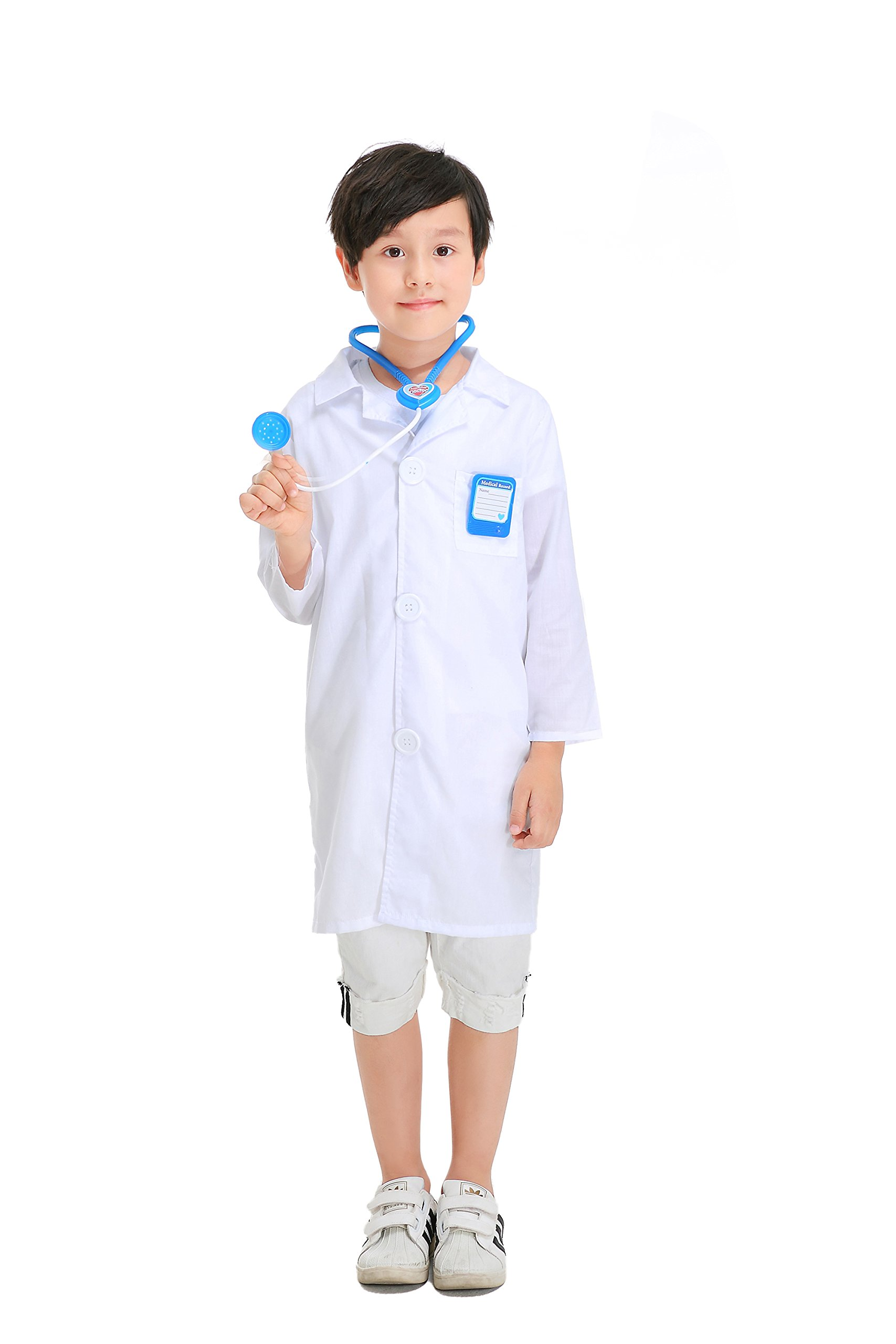 YOLSUN Lab Coat Role Play Costume Set for Kids, Boys' and Girls' Lab Dress up and Play Set (4-5Y, White)