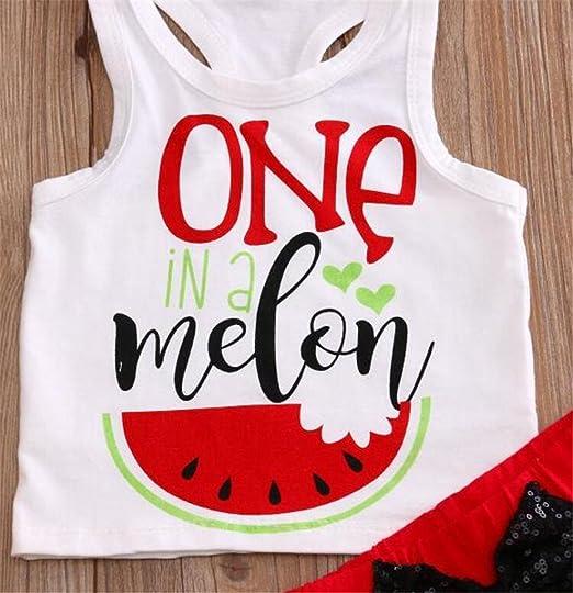 Amazon.com: Bebé niñas One in a melón blanco Tank parte ...
