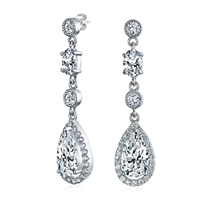 457d7c91e9ab27 Amazon.com: Cubic Zirconia CZ Teardrop Long Dangle Chandelier Prom Pageant  Statement Earrings For Women 925 Sterling Silver: Dangle Earrings: Jewelry