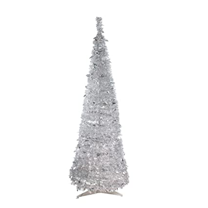 Amazon.com: Northlight 6' Pre-Lit Silver Tinsel Pop-Up Artificial ...
