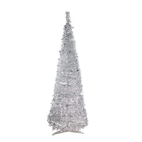 Pre Lit Christmas Tree That Puts Itself Up.Northlight 6 Pre Lit Silver Tinsel Pop Up Artificial Christmas Tree Clear Lights