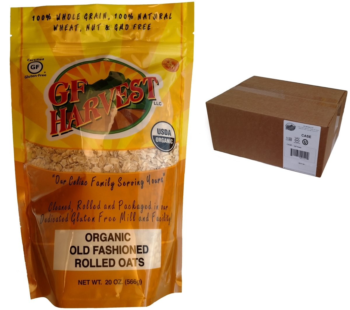 GF Harvest Gluten Free Certified Organic Rolled Oats, Non GMO, 20 oz Bag, Non-GMO, Certified Organic, 6 Count by GF Harvest