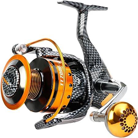 Sougayilang Carretes de pesca- 12+1 BB, carretes de spinning ligeros y suaves, potente arrastre de fibra de carbono, pesca de sal y agua dulce