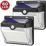 Luz Solar Jardín, Kilponen [2 Paquete] 60LED Foco Solar Exterior con Sensor de Movimiento Impermeable Inalámbrico 2000mAh Lámpara Solar Pared Seguridad 3 Modos Inteligente para Garaje, Patio, Camino