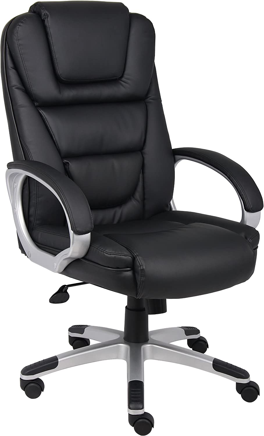 Boss Office Products High Back No Tools Required LeatherPlus Chair with Knee Tilt in Black