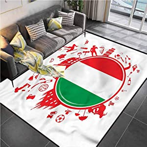 Area Rug Print Large Rug Mat Italian Flag,Soccer Player Pizza Office Chair mat for Carpet for Living Room Bedroom Playing Room 5'x7'