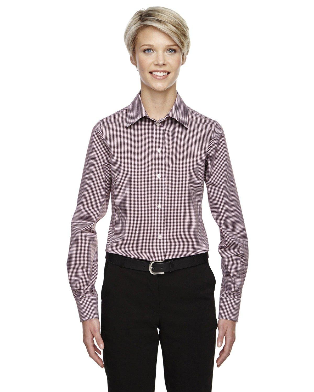 Averill's Sharper Uniforms Women's Ladies Server Fine Gingham Check No-Iron Blouse Medium Burgundy Gingham