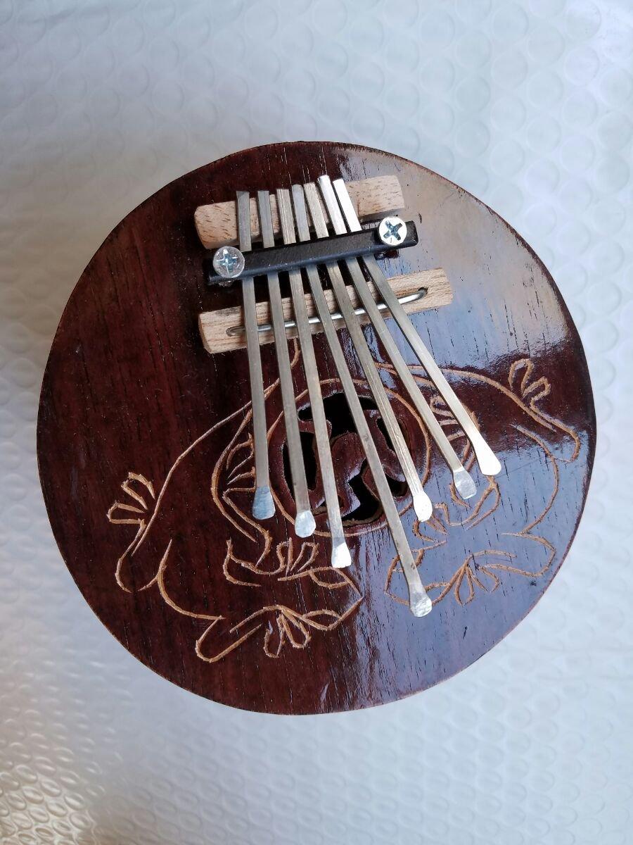Kalimba Thumb Piano Mbira- 7 keys - Tunable - Coconut Shell - by Bethlehem Gifts TM (Light Brown Carved)