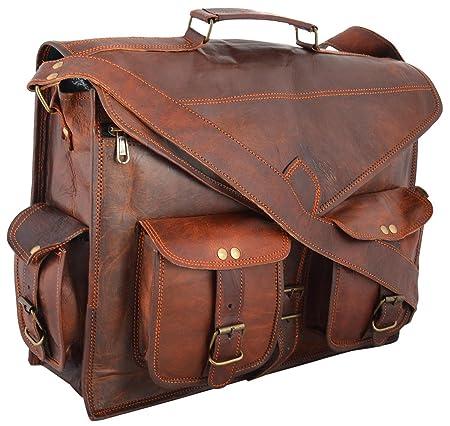 LeatherCrafts 18 Inch Handmade Real Goat Leather Vintage Brown Briefcase  Laptop Bag Briefcase Satchel Messenger Bag 5ffa9a1840891