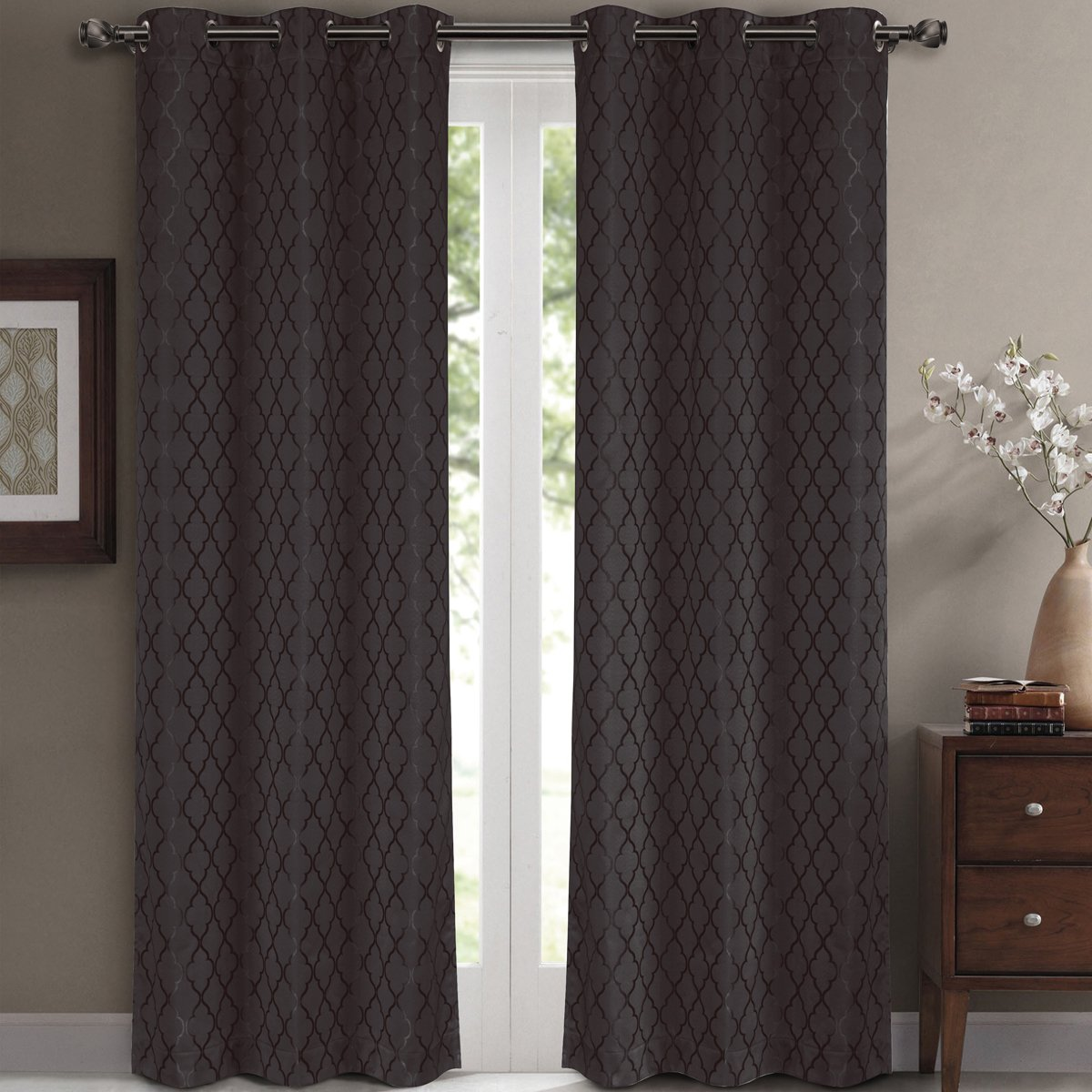 """Pair of Two Top Grommet Blackout Jacquard Curtain Panels, Triple-Pass Foam Back Layer, Elegant and Contemporary Willow Blackout Panels, Charcoal, Set of Two 42"""" by 63"""" Panels (84"""" by 63"""" Pair)"""