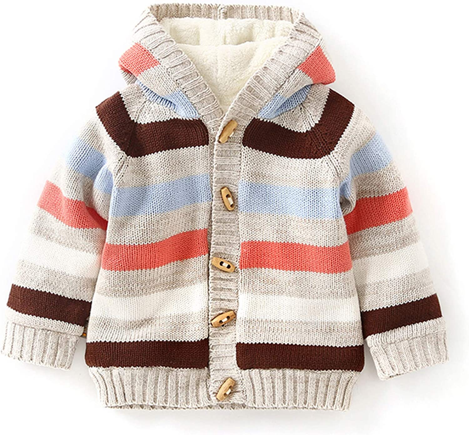 Baby Toddler Boy Girl Knitted Cardigan Hooded Sweater Fall Winter Botton Warm