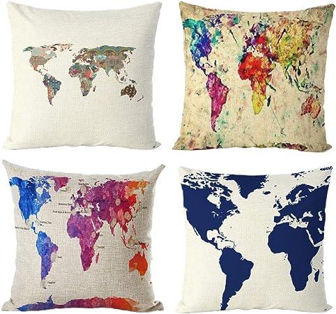 Fansu Fundas de Cojines para Sofa Mapa del Mundo, 4 Pack Lino Funda de Almohada Throw Pillow Case Cremallera Oculta Sofá Cama de la Casa Sillas Decoración 45x45 (45x45cm/18x18in,Estilo C): Amazon.es: Hogar