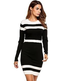 Beyove Women s Colorblock Striped Long Sleeve Cotton Knit Sweater Bodycon  Dress 87191e386