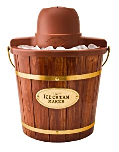 Nostalgia ICMW400 Vintage Collection 4-Quart Wood Bucket Electric Ice Cream Maker with Easy-Clean Liner by Nostalgia
