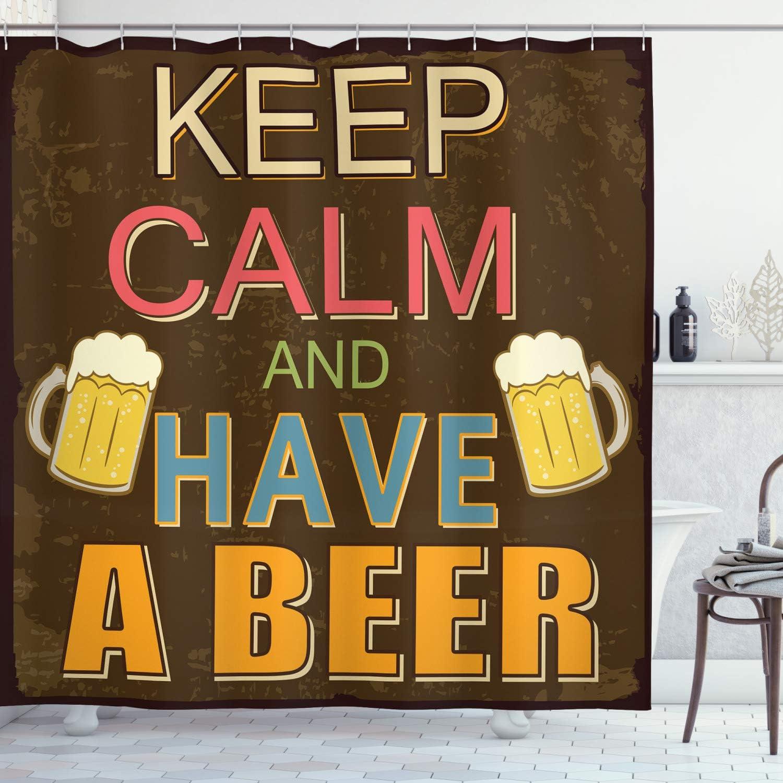 ABAKUHAUS Mantén la Calma Cortina de Baño, Bebe una Cerveza Póster Vintage con Vasos y Espuma Brindis Viejos Bares, Material Resistente al Agua Durable Estampa Digital, 175 x 200 cm, Multicolor