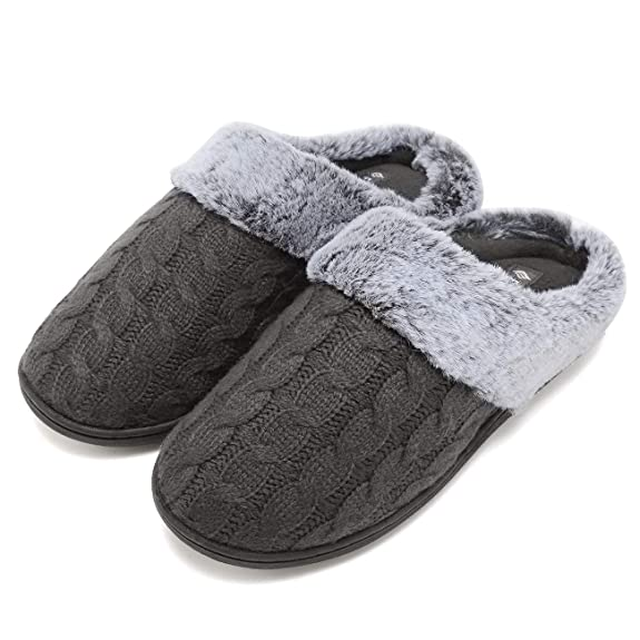 Fanture Women's Memory Foam Slippers Sweater Knit Faux Fur Collar Soft Plush Lining Slip-on House Shoes Indoor & Outdoor-U418WMT021-lightgray-42.43