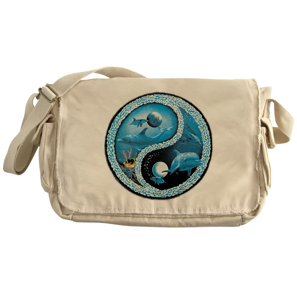 Royal Lion Khaki Messenger Bag Dolphin Fish Ocean Yin Yang Symbol