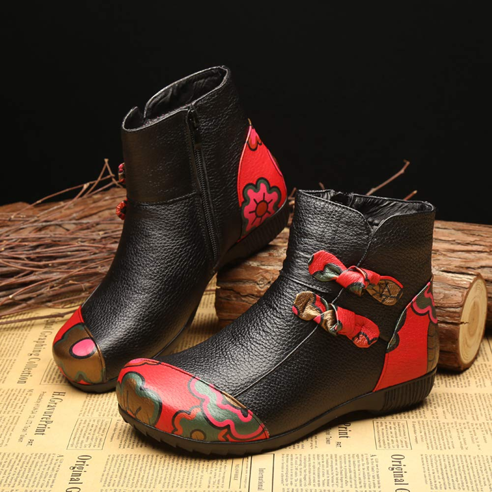 Women Winter Anke Boots Handmade Printing Design Plush Fur Snow Boots Black Leather Outdoor Shoes
