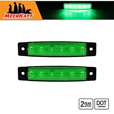 Meerkatt 2x 6 LED Green Side Marker Clearance Indicator Parking License Decoration Fender Rear Light Trailer Truck Cab SUV HGV Lorry Camper Car Boat Bus Jeep Sedan Caravan 3.8 Inch Sealed Lamp 12V DC: Automotive