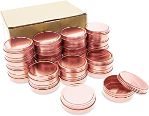 Mimi Pack 24 Pack Tins 4 oz Shallow Round Tins with Solid Screw Lids Empty Tin Containers Cosmetics Tins Party Favors Tins and Food Storage Containers (Rose Gold)