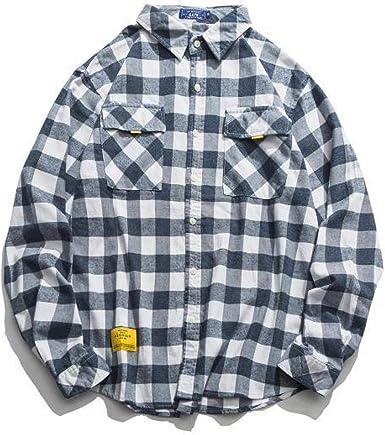 Camisa a Cuadros de Hombre Camisa de algodón de Manga Larga ...