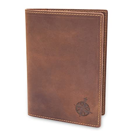 bff2560e32c81 Leather Passport Holder Travel Wallet - RFID Blocking Genuine Leather  Travel Wallet for Men and Women