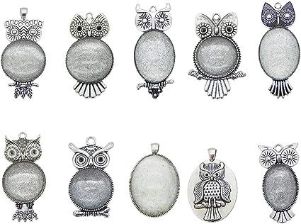 10 Sets Tibetan Flower Pendant Setting Blanks Bezel Round Silver /& 25mm Covers