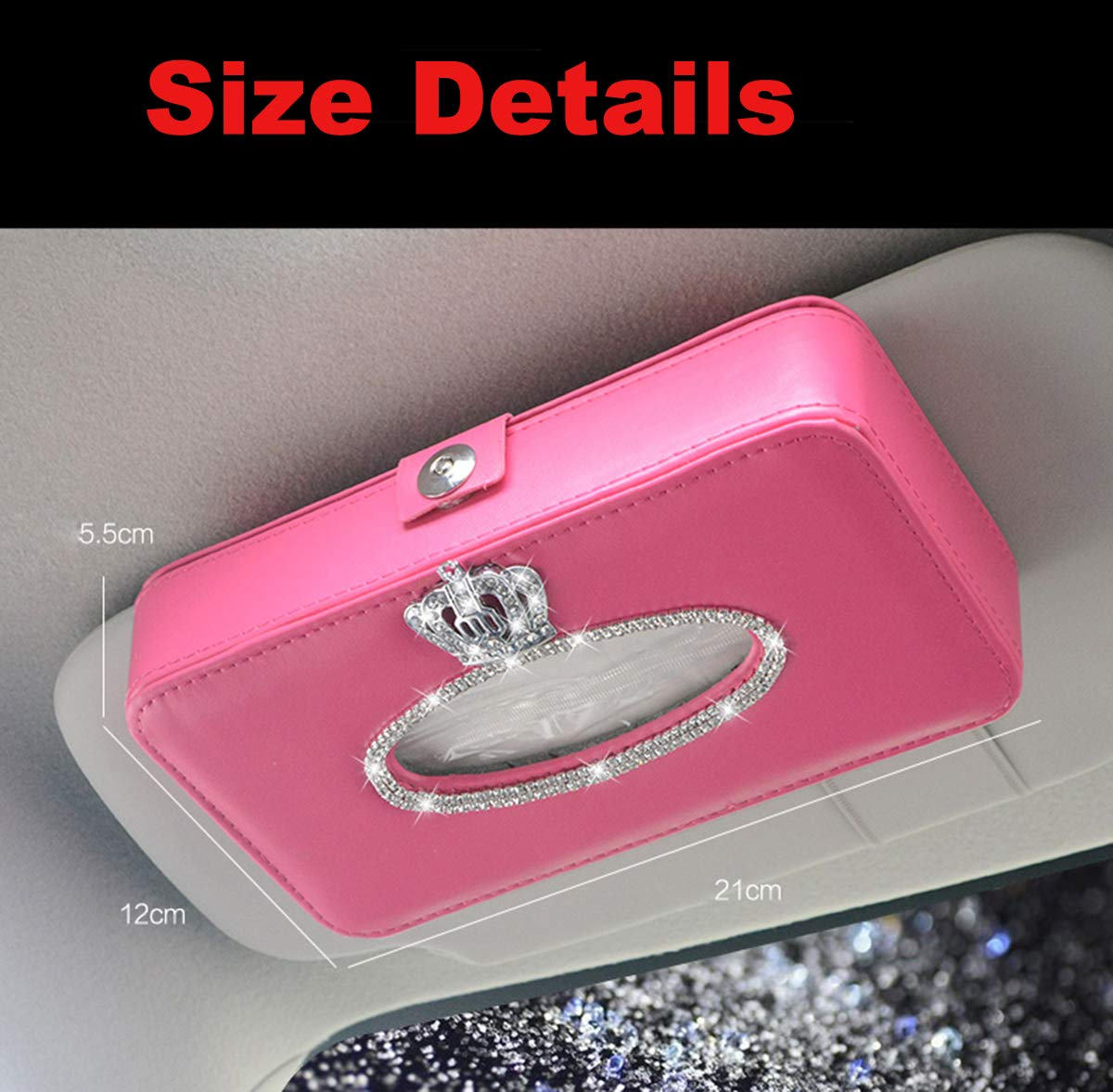 MLOVESIE Leather Auto Gear Shift Knob Cover with Crystal Bling Bling Rhinestones for Girls,Lady Universal Fit