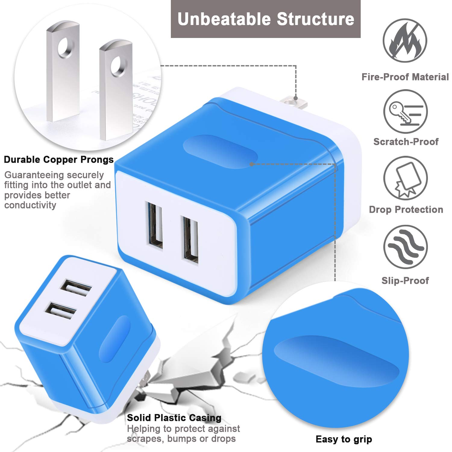 Amazon.com: USB Charger, Eversame 2-Port USB Travel Home Wall Charger Plug Adapter, 3.1A Charging Station Compatible iPhone X/8/7/6 Plus, iPad Pro/Air 2, ...