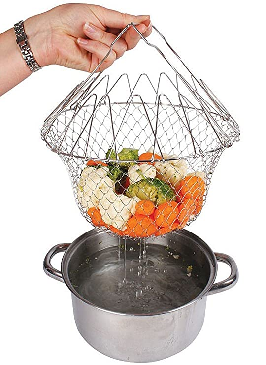 Everbuy Chef Basket Cooker Strainer 12 in 1 Kitchen Tool Cooks Net - Instant Essential and Flexible Kitchen Helper Chef Basket Deep Fat Fryers at amazon
