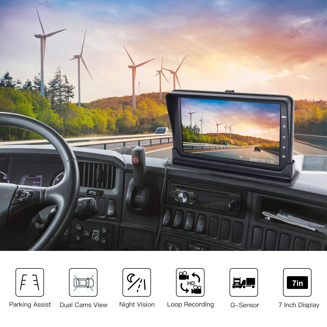 Dual Channel Car Dash Cam 170/° Wide Angle 1080P Front Car Monitor Recorder with AHD 720P Rear View Backup Camera,Built-in G-Sensor Loop Recording,Motion Detection SVTCAM JLY-01