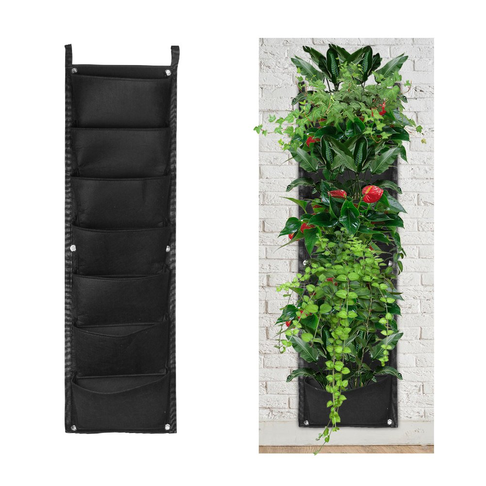 Accmor 7 Pocket Hanging Vertical Garden Wall Planter for Indoor Yard Home Decoration by accmor