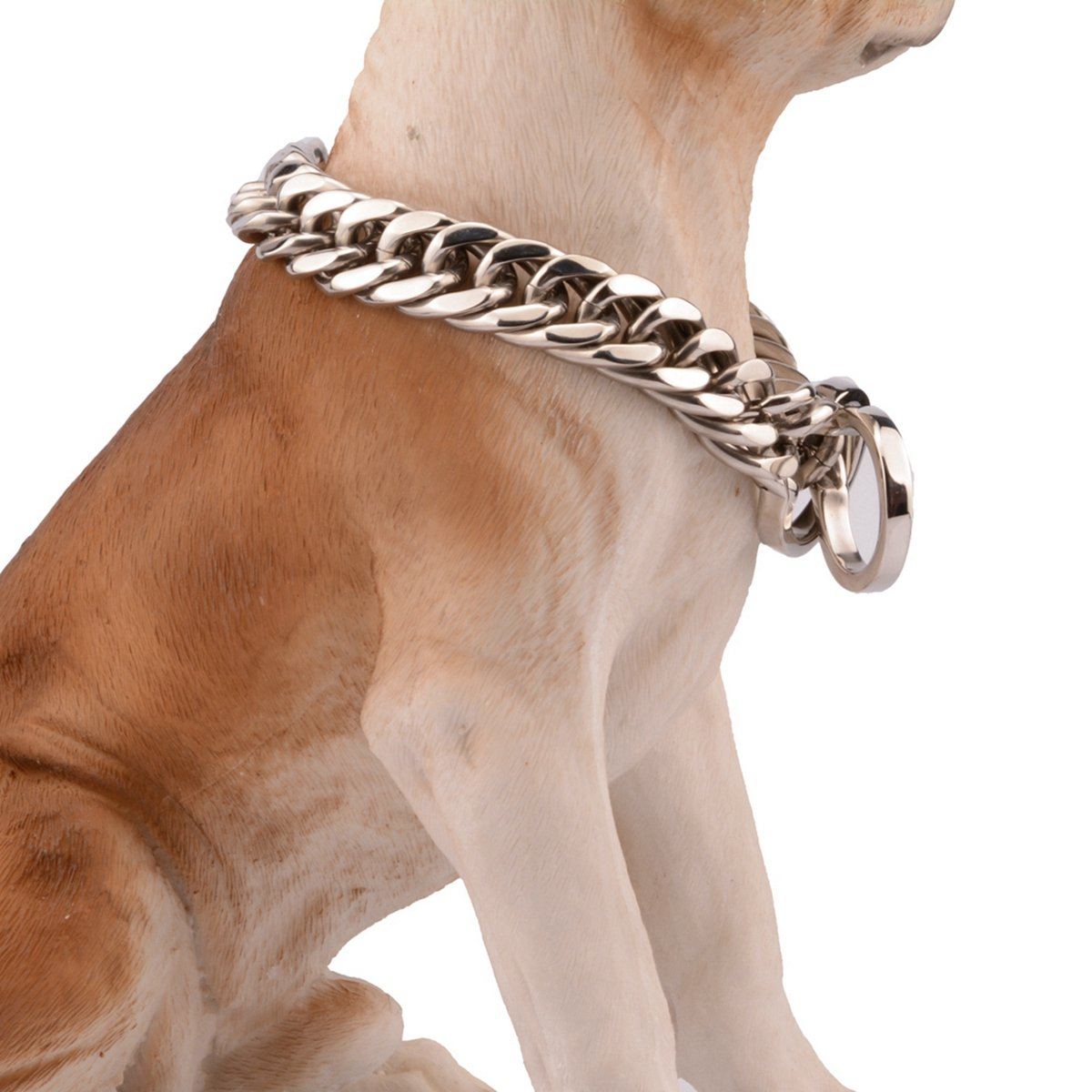 24inch recommend dog's neck 20inch Bestss Jewelry 16 18mm Silver Tone Double Curb Chain Stainless Steel Choker Strong Dog Pet Collar,14-36 Inches (18mm Wide, 24inch Recommend Dog's Neck 20inch)